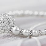 Edles Perlenarmband mit filigranem Silberelement und Strasselementen in 925er Silber von JDUnikat Schmuckdesignerin Jana Drange, Brautschmuck handmade aus Berlin