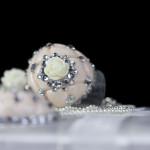 Hübscher roséfarbener, herzförmiger Ring mit Rosenverzierung und Strass von JDUnikat Schmuckdesignerin Jana Drange, Brautschmuck handmade aus Berlin